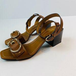 Salvatore Ferragamo Leather Ankle Strap Gancini